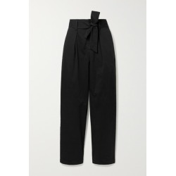 Alex Mill - Belted Pleated Cotton-blend Tapered Pants - Black found on MODAPINS from NET-A-PORTER for USD $125.00