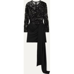 Elie Saab - Sequin-embellished Tulle And Draped Cady Mini Dress - Black found on MODAPINS from NET-A-PORTER for USD $3457.50