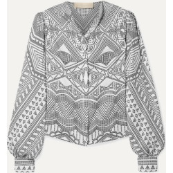 Antonio Berardi - Printed Silk-twill Shirt - White found on MODAPINS from NET-A-PORTER for USD $216.00