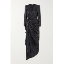 Redemption - Draped Metallic Fil Coupé Silk-blend Gown - Black