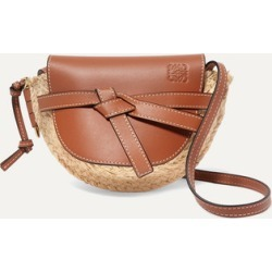 Loewe - Gate Mini Leather And Woven Raffia Shoulder Bag - Tan found on Bargain Bro UK from NET-A-PORTER UK
