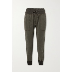 James Perse - Jersey-trimmed Cotton-twill Track Pants - Green found on Bargain Bro India from NET-A-PORTER for $245.00
