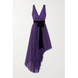 Alice Olivia - Aiden Asymmetric Velvet-trimmed Printed Georgette Dress - Purple found on MODAPINS from NET-A-PORTER for USD $297.50