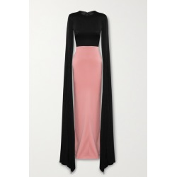 Alex Perry - Julian Two-tone Cape-effect Satin-crepe Gown - Black found on MODAPINS from NET-A-PORTER for USD $2600.00
