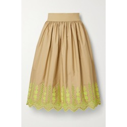 Adam Lippes - Gathered Broderie Anglaise Cotton-blend Poplin Midi Skirt - Sand found on MODAPINS from NET-A-PORTER for USD $990.00