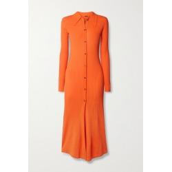 Dodo Bar Or - Elisha Ribbed-knit Midi Shirt Dress - Bright orange found on MODAPINS from NET-A-PORTER for USD $665.00