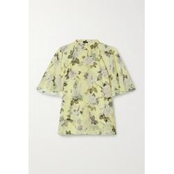 Erdem - Bennett Floral-print Silk-voile Blouse - Pastel yellow found on Bargain Bro UK from NET-A-PORTER UK