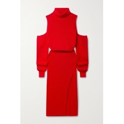 Brandon Maxwell - Cold-shoulder Wool-blend Turtleneck Midi Dress - Red found on MODAPINS from NET-A-PORTER UK for USD $1077.16