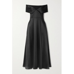 Brandon Maxwell - Off-the-shoulder Satin Midi Dress - Black found on MODAPINS from NET-A-PORTER UK for USD $1661.22