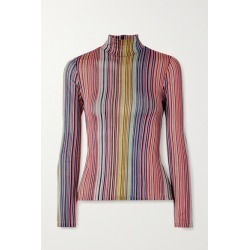 Beaufille - Mena Striped Stretch Jacquard-knit Turtleneck Top - Pink found on MODAPINS from NET-A-PORTER for USD $167.50