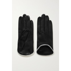 Agnelle - Sofia Faux Pearl-embellished Leather Gloves - Black found on MODAPINS from NET-A-PORTER for USD $73.50