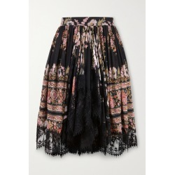 Etro - Lace-trimmed Floral-print Silk-crepon Mini Skirt - Black found on Bargain Bro UK from NET-A-PORTER UK
