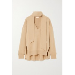 Chloé - Tie-detailed Embroidered Cashmere Sweater - Brown found on Bargain Bro UK from NET-A-PORTER UK