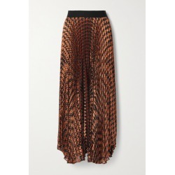 Alice Olivia - Pleated Metallic Fil Coupé Chiffon Maxi Skirt - Brown found on MODAPINS from NET-A-PORTER for USD $700.00