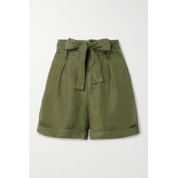 Alex Mill - Avery Belted Pleated Linen Shorts - Army green found on MODAPINS from NET-A-PORTER for USD $57.00