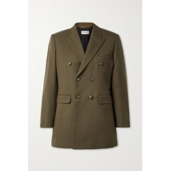 SAINT LAURENT - Double-breasted Wool Blazer - Army green found on Bargain Bro UK from NET-A-PORTER UK
