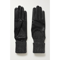 Agnelle - Cecilia Leather And Ribbed Alpaca Gloves - Black found on MODAPINS from NET-A-PORTER for USD $78.75