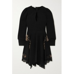 Stella McCartney - + Net Sustain Celeste Asymmetric Lace-paneled Cady Mini Dress - Black found on Bargain Bro UK from NET-A-PORTER UK