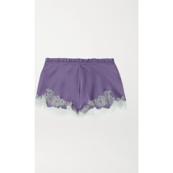 Carine Gilson - Silk-satin And Chantilly Lace Shorts - Lilac found on MODAPINS from NET-A-PORTER for USD $485.00