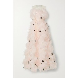 Huishan Zhang - Mystique Feather-trimmed Cutout Silk-organza Gown - Pastel pink found on MODAPINS from NET-A-PORTER UK for USD $4823.61
