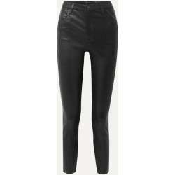 J Brand - Alana Cropped Leather Skinny Pants - Black
