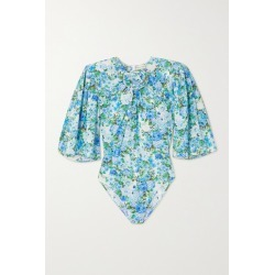 Magda Butrym - Floral-print Gathered Stretch-silk Bodysuit - Blue found on MODAPINS from NET-A-PORTER UK for USD $1043.48