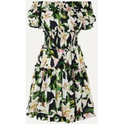 Dolce & Gabbana - Off-the-shoulder Ruffled Floral-print Cotton-poplin Dress - Black found on Bargain Bro India from NET-A-PORTER for $976.50