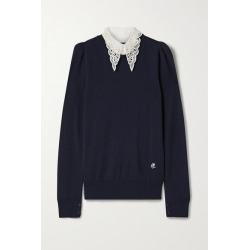 Adam Lippes - Poplin And Crocheted Lace-trimmed Wool Sweater - Black found on MODAPINS from NET-A-PORTER for USD $790.00