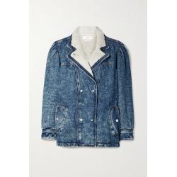 Isabel Marant Étoile - Lucinda Faux Shearling-lined Acid-wash Denim Jacket - Mid denim found on Bargain Bro UK from NET-A-PORTER UK