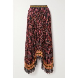 Alice Olivia - Katz Asymmetric Pleated Floral-print Crepe Skirt - Burgundy found on MODAPINS from NET-A-PORTER for USD $495.00