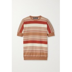 Loro Piana - Giroccolo Tangery Striped Silk And Cotton-blend Sweater - Red found on MODAPINS from NET-A-PORTER for USD $1050.00