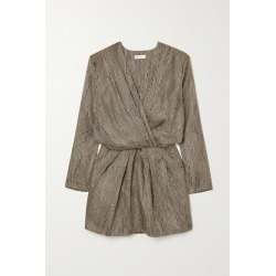 Anine Bing - Kate Wrap-effect Printed Silk-twill Mini Dress - Sand found on MODAPINS from NET-A-PORTER for USD $400.00