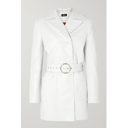 De La Vali - Twiggy Belted Double-breasted Leather Coat - White found on MODAPINS from NET-A-PORTER for USD $1200.50
