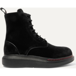 Alexander McQueen - Leather-trimmed Velvet Exaggerated-sole Ankle Boots - Black found on MODAPINS from NET-A-PORTER for USD $483.00