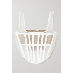 Dion Lee - Spacer Canvas-trimmed Tulle Bustier Top - White found on MODAPINS from NET-A-PORTER for USD $177.00