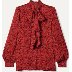 Alice Olivia - Tammy Pussy-bow Printed Crepe Blouse - Red found on MODAPINS from NET-A-PORTER for USD $231.00