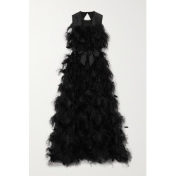 Huishan Zhang - Mystique Feather-trimmed Cutout Silk-organza Gown - Black found on MODAPINS from NET-A-PORTER UK for USD $4830.51