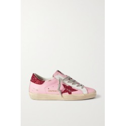 Golden Goose - Superstar Glittered Distressed Leather Sneakers - Pink found on Bargain Bro UK from NET-A-PORTER UK