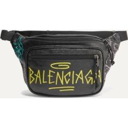 Balenciaga - Explorer Graffiti Printed Textured-leather Belt Bag - Black found on Bargain Bro UK from NET-A-PORTER UK
