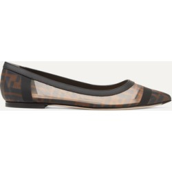 Fendi - Colibri Leather-trimmed Logo-print Mesh Point-toe Flats - Brown found on Bargain Bro Philippines from NET-A-PORTER for $650.00