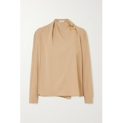 Bottega Veneta - Embellished Draped Wool-twill Blouse - Beige found on Bargain Bro UK from NET-A-PORTER UK