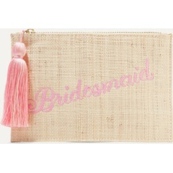 Kayu - Bridesmaid Embroidered Woven Straw Pouch - Sand found on MODAPINS from NET-A-PORTER for USD $80.00