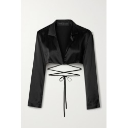 Michael Lo Sordo - Cropped Silk-satin Wrap Top - Black found on MODAPINS from NET-A-PORTER UK for USD $439.45