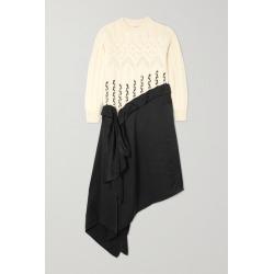 Loewe - Asymmetric Paneled Wool And Alpaca-blend And Satin Midi Dress - White found on Bargain Bro UK from NET-A-PORTER UK