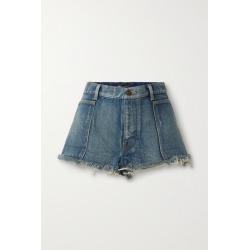 SAINT LAURENT - Frayed Denim Shorts - Mid denim found on Bargain Bro UK from NET-A-PORTER UK