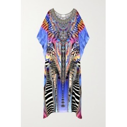 Camilla - Crystal-embellished Printed Silk Crepe De Chine Kaftan - Purple found on MODAPINS from NET-A-PORTER for USD $680.00