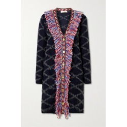Tory Burch - Grosgrain-trimmed Fringed Intarsia Wool-blend Cardigan - Navy found on Bargain Bro UK from NET-A-PORTER UK