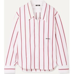 CALVIN KLEIN 205W39NYC - Oversized Embroidered Striped Cotton-poplin Shirt - White