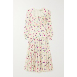 Alessandra Rich - Bow-detailed Pleated Floral-print Silk-crepe Midi Dress - White found on MODAPINS from NET-A-PORTER UK for USD $1978.01