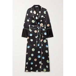 OLIVIA VON HALLE - Capability Printed Silk-satin Robe - Black found on Bargain Bro India from NET-A-PORTER for $1040.00